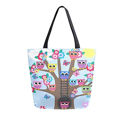 AHYLCL Tree Flower Animal Owl Tote Bag Canvas Shoulder Bag Reusable Large Multipurpose Use Handbag for Work School Shopping Outdoor