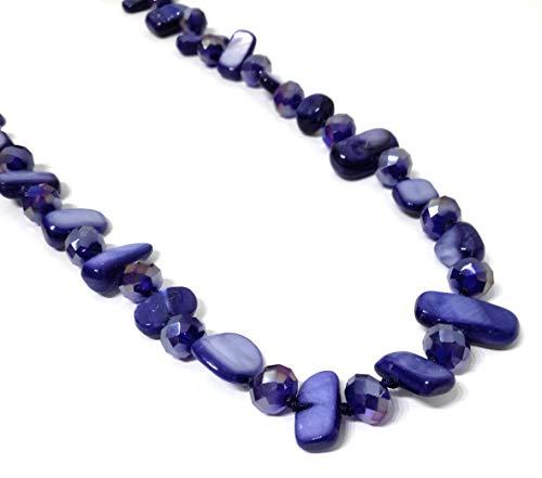 BRANDELIA Collares Largos de Colores Mujer Bisutería de Nácar y Perlas de Cristal, Azul Marino