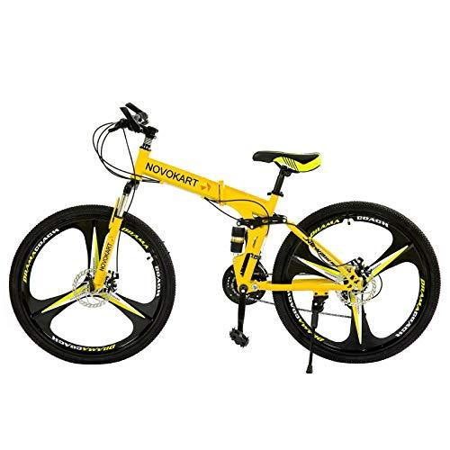 Mountain Bike Pieghevole per Studenti e Giovani,Bicicletta Sportiva da Montagna Adolescenti, MTB con 24-Stage Shift, 26 Pollici 3 Taglierina, Giallo