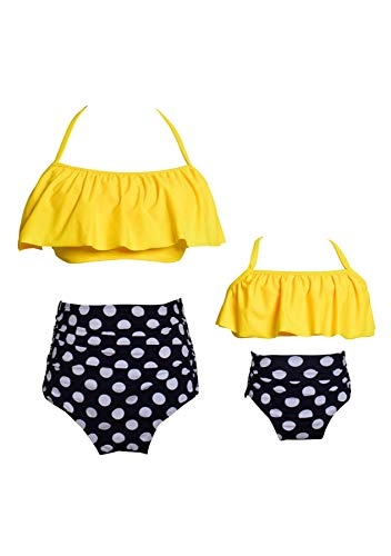 GRASWE Family Matching Swimsuits Two Piece High Waisted Off Shoulder Swimsuit Ruffled Printed Mommy and Me Bikini Set Yellow Black Dot 6-8 Years