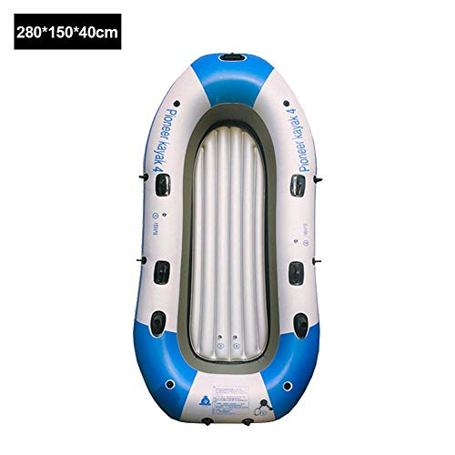 Inflatable Raft Boat, 2/3/4-Person Heavy Duty Fishing Air Kayak Canoe Set with Paddle Air Pump Wear-Resistant Fishing Boat Inflatable Kayak for Adults Fishing