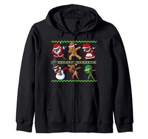 African American Dabbing Squad Santa Mrs Claus Christmas Zip Hoodie