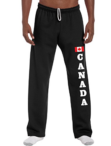 STUFF WITH ATTITUDE Canada Black Open Leg Sweatpants (Large)
