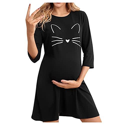 Vuncio Vestido de premamá para mujer, de verano, de manga larga, con diseño de gato, divertido, para embarazadas, tiempo libre, vestido largo, elegante, tallas grandes Negro XL
