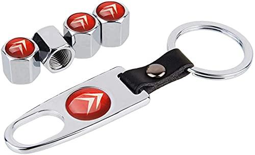 4 Stück/Satz Staubschutzventildeckel für Kraftfahrzeuge für Citroen DS Logo Badge Berlingo C3 Elysee C4 Cactus, Ersatzteile für dekorative Luftklappenabdeckung für Reifenventile