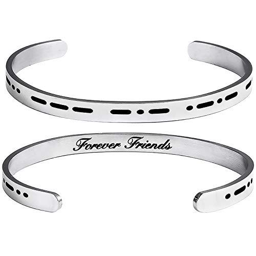 DTWAWA Morse Code Bracelets Secret Message Stainless Steel Friendship Cuff Bracelet Gifts for Friends