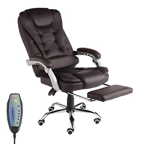IPKIG Ergonomic Executive Office Chair with Retracable Footreat - High Back Home Office Chair 7-Point Massage Adjustable Height Task Chair with Padded Armrest and Lumbar Support (Brown)