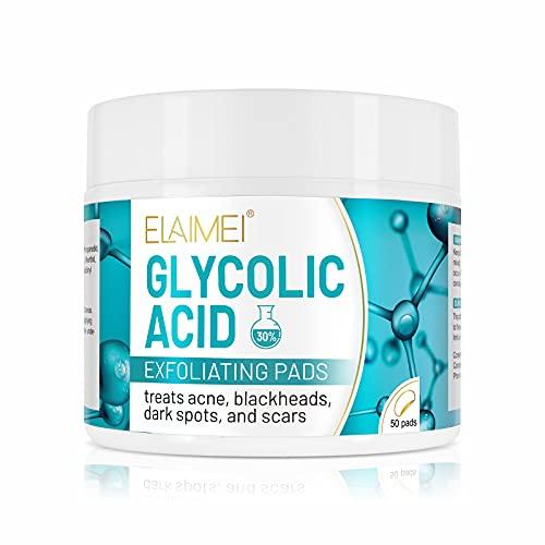 Cuscinetti esfolianti all acido glicolico, dischetti detergenti glicolici con vitamina B5, C e acido glicolico puro al 30%, esfolia riducendo le linee sottili e le rughe, tratta le macchie scure