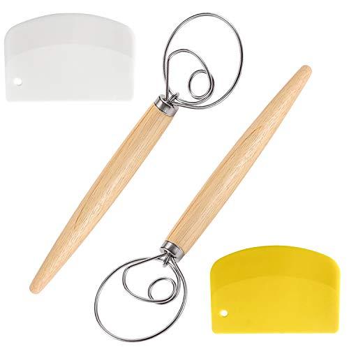 OBSGUMU 34cm Teig Schneebesen-Danish Dough Whisk Mixer(Set of 2), Backwerkzeuge Artisan Blender für Brot, Keks, Knödel oder Pizza, mit 2pcs Teigschaber-Great As A Gift