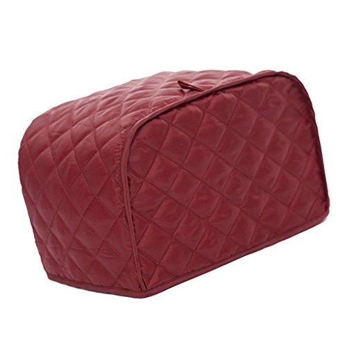 Cubierta de Tostador Algodón Rayado Pan Tostadora Polvo Cubrir Bakeware Protector Durable - rojo, 4 Slice