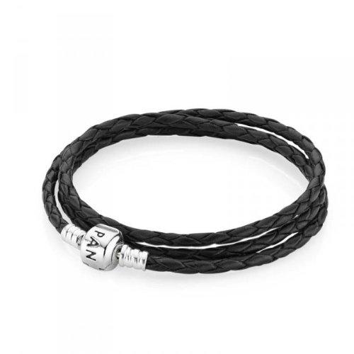 Pandora 590705cbk-t1in argento Sterling e doppio bracciale in pelle nera in legno