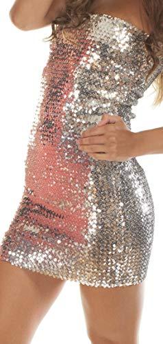 The Turkish Emporium Bandeaukleid Kleid Minikleid Pailetten Glitzer COCKTAILKLEID Sexy (Silber)