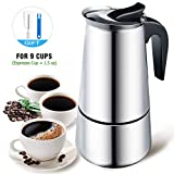 Stovetop Espresso Maker, Moka Pot for 9 Cup (Espresso Cup = 1.5 oz), Stovetop Coffee Maker with Safety Valve - Blew 13.5 oz