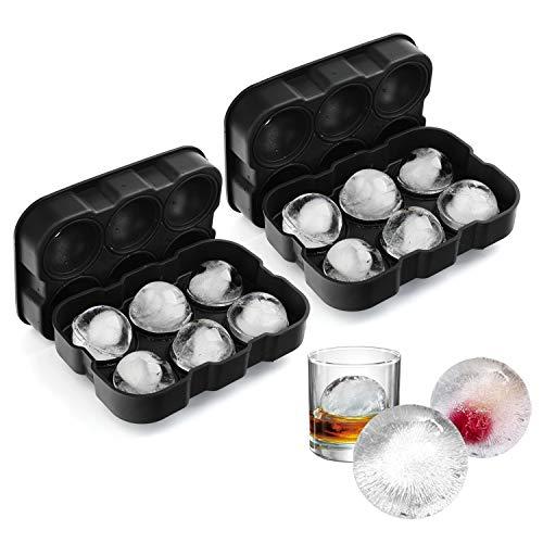 VOGEK Silikon Eiswürfelform Eiskugelform Ice Ball Mould Sphere 100% BPA Frei Eiswürfelschalen Eiswürfel mit Deckel für Whisky, Cocktails, Saft, Schokolade, Süßigkeiten, Götterspeise