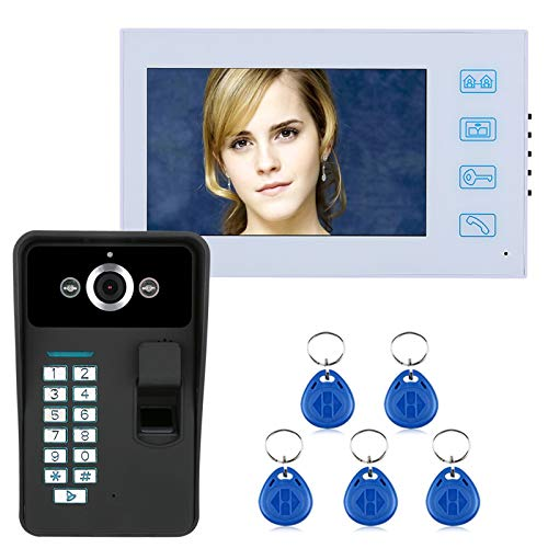 Videoportero, intercomunicador, timbre de video con cable de 7 pulgadas, monitores LCD + cámara de seguridad de visión nocturna, desbloqueo de contraseña por huella dactilar RFID