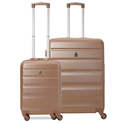 Aerolite Super Lightweight 2 Piece ABS Hard Shell Travel Suitcase Luggage Set with 4 Wheels (Cabin + Medium, Rose Gold)