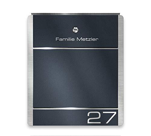 Metzler Briefkasten Edelstahl Anthrazit - 38,5 x 33 cm groß - mit Gravur Beschriftung Hausnummer & Name - RAL 7016 - zur Wand-Montage (ohne Zeitungsfach)