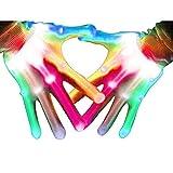 Aoweika LED Handschuhe Für Kinder Erwachsene, LED Bunte Blinkende Finger Beleuchtung Handschuhe...