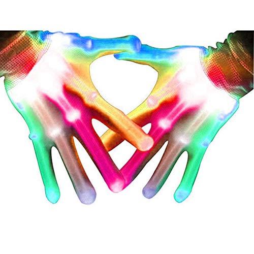 Aoweika LED Handschuhe Für Kinder Erwachsene, LED Bunte Blinkende Finger Beleuchtung Handschuhe Halloween LED Leuchtende Handschuhe Rave Handschuhe Weihnachten Party, Geschenke für Kinder