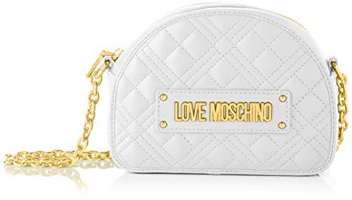 Love Moschino Precollezione ss39, Bolso bandolera mujer PU cadena New Shiny Quilted, Color blanco, Normal