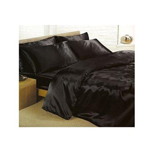 Set in raso per letto super king composto da copripiumino, lenzuolo con gli angoli e 2 federe, colore: nero