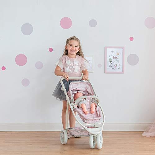 Olivia's Little World - Polka Dots Princess 2-in-1 Baby Doll Stroller - Pink/Gray, Doll Pram (OL-00009)