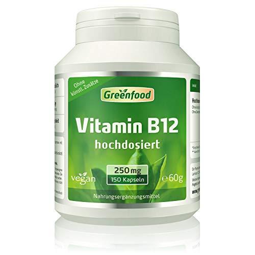 Greenfood Vitamin B12 (Methylcobalamin), 250 µg, extra hochdosiert, 150 Vegi-Kapseln, vegan – für gute Laune und einen extra Schub frische Energie. Wichtig für das Nervensystem und die Blutbildung. OH