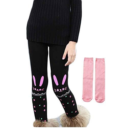 PanpanBox Mädchen Thermo Jeggings Warm Freizeithosen Winterhosen Wolle Pants Elastizität Kinder Fleece Thermounterwäsche Legging Verdickte Winter 2-10 Jahre (134-146, kaninchen pink)