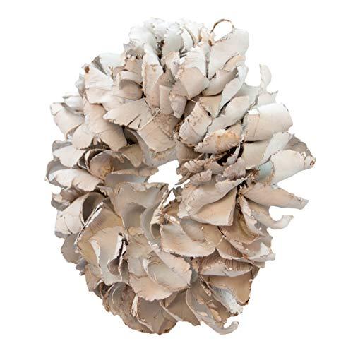 COURONNE Naturkranz Deko Ø40cm in weiß, gefertigt aus Palmblättern | Türkranz ganzjährig zum hängen oder als Tischdekoration im Shabby chic Design | Zeitloses Wohnaccessoir als Landhaus Natur-Deko