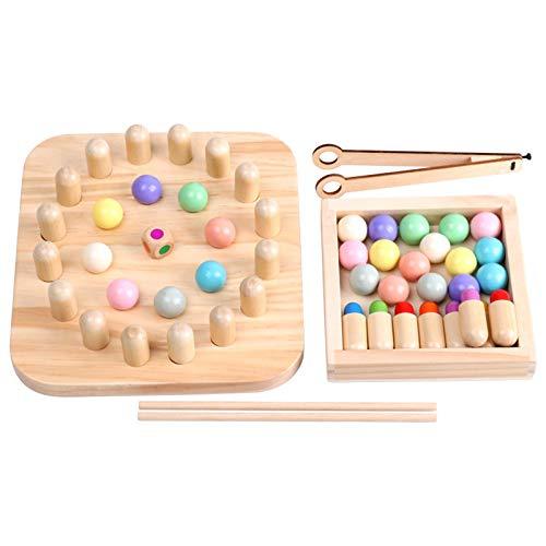 Kindergedächtnis Schach Holz Material Clip Perlen üben Essstäbchen Match Stick Spiel Kid Intelligence Teaser Spiel Kindergeschenk multifunktionale Geschenke für Jungen und Mädchen
