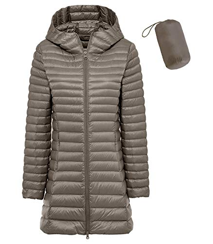 sunseen Women's Packable Down Coat Lightweight Plus Size Puffer Jacket Hooded Slim Warm Outdoor Sports Travel Parka Outerwear (S, Long-Khaki)