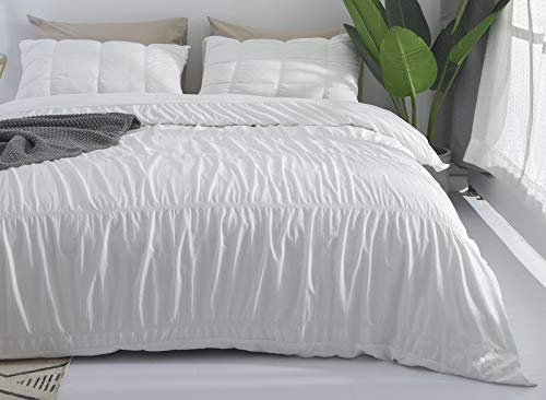 DuShow King White Duvet Cover Set Solid 3 Pieces Stripe Hotel Quality Comforter Cover Set with Zipper Closure Soft Seersucker Duvet Cover and 2 Pillowcases