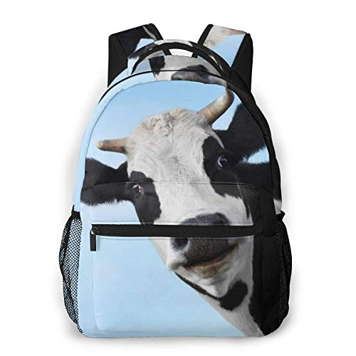 IUBBKI Cow Face Funny Unisex Backpacks with Adjustable Padded Shoulder Straps Casual Backpack
