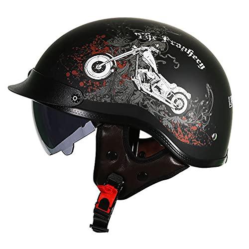 PRETAY Casco De Moto Medio Casco Casco De Cara Abierta Cerebro Cruiser Chopper Patineta Casco De Seguridad Ciclomotor Gafas Incorporadas De LiberacióN RáPida (Color : E, Size : 2XL(59~60cm))