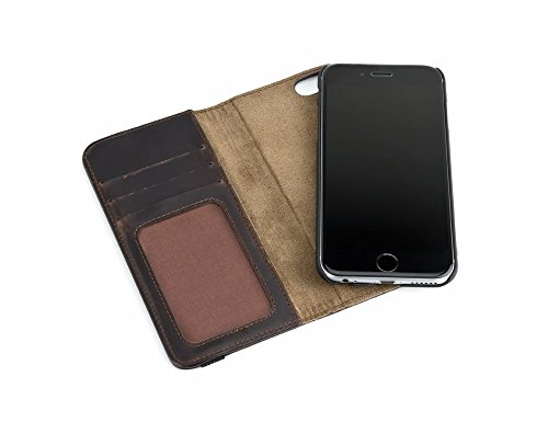 MOS Stash, Auto-locating Leather Magnet Wallet Case for iPhone 6/6S - Genuine Leather