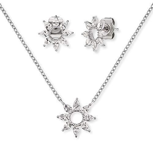 Engelsrufer Set ERMT-LILFLOWER2-ZI Halskette und Ohrstecker Sterling Silber synthetischer Zirkonia