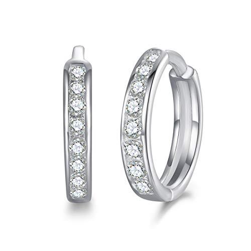 Shuxin Silver Hoops Earrings for Women, 925 Sterling Silver Huggie Hoop Earrings with AAA Cubic Zirconia, Diameter 13mm Hypoallergenic Small Sleeper Hoops