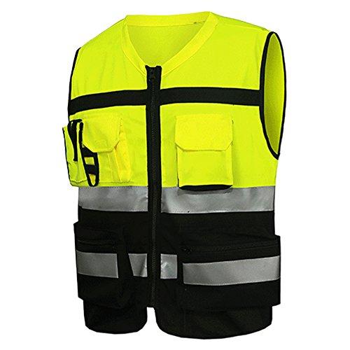 Beveiliging Reflecterende Vest, Hoge Zichtbaarheid Veiligheid Vesten, Bouw Verkeer Fietskleding, Werk Contractor Veiligheid Taillejas Top XXL Zwart en Geel