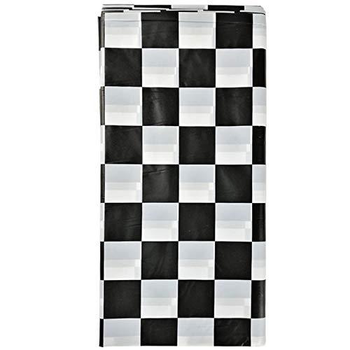 Facibom Mantel una Cuadros Blanco y Negro/Cubierta de Mesa de Bandera Favor de Fiesta/Cubierta de Mesa de Carreras una Cuadros Desechable, Paquete de 4