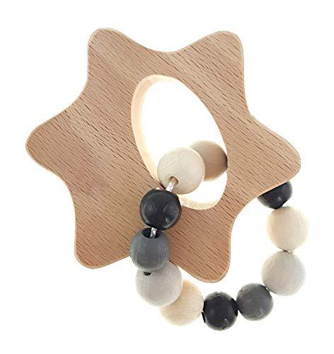 Hess Spielzeug Hochet avec des Perles en Bois hochet bébé, Étoile Naturel/Noir