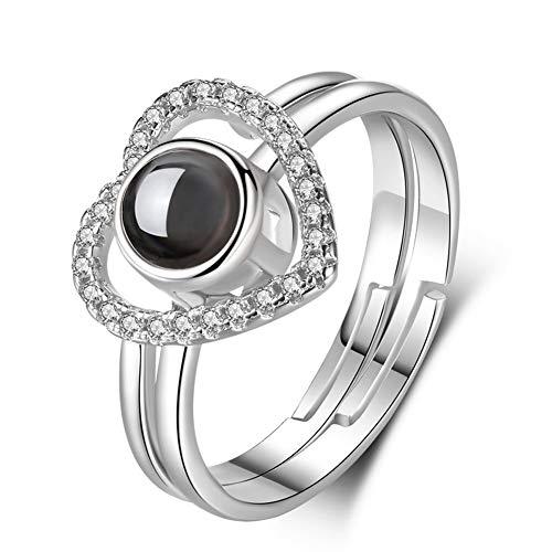 925 sterling zilver liefde twee-in-one projectie geopende ringen, ik hou je 100 talen nanotechnologie, romantische get, verloofd, huwelijksring, sieraad