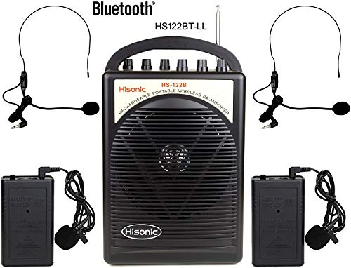HISONIC HS122BT-LL Portable Rechargeable PA System with Dual Channel Wireless Microphones with Bluetooth, Black