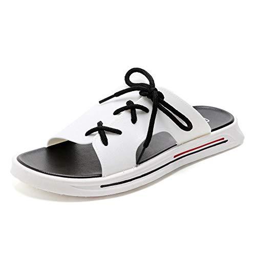 Interior al Aire Libre Verano Zapatillas,Zapatos de Playa de Personalidad de Moda. Hombre Casual Anti-Arena-Blanco_43,Zapatillas de baño Unisex