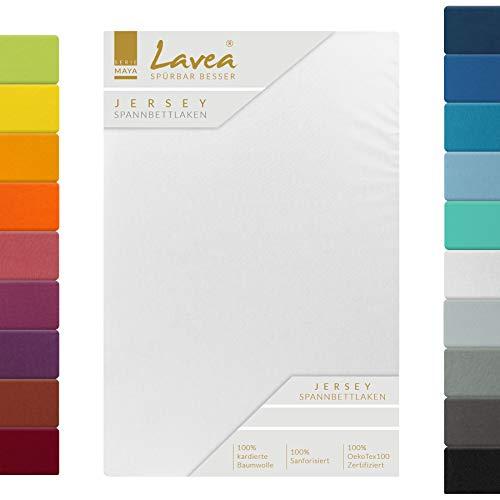Lavea Jersey Spannbettlaken, Spannbetttuch, Serie Maya, 140x200cm | 160x200cm, Weiss, 100% Baumwolle, hochwertige Verarbeitung, mit Gummizug