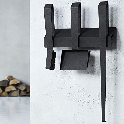 Kaminbesteck Ofenbesteck Wandmontage Ofenset Schwarz beschichtet Stahl 3-teilig