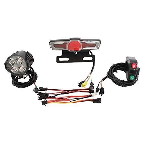 Manyao 12V-80V 12W 300 lúmenes de luz LED Frontal con una función de Hornos 36V-60V 5W luz Trasera con Freno y Girar Función de conmutación for la Bici eléctrica