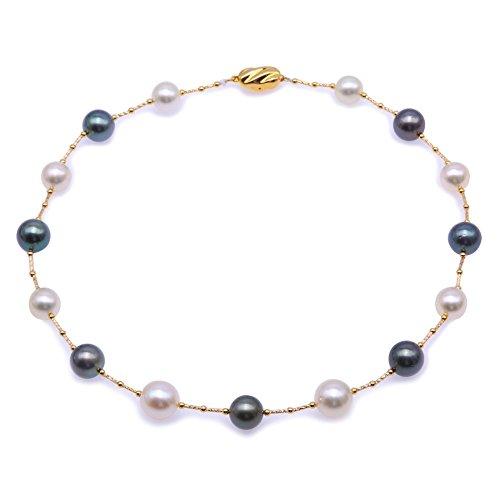 JYX Pearl 18 K Gold Halskette AAA+ Qualität prächtige echte echte Südsee-Zuchtperle & Tahiti-Perlenkette in 45,7 cm Prinzessinnenlänge für Frauen als Geschenk