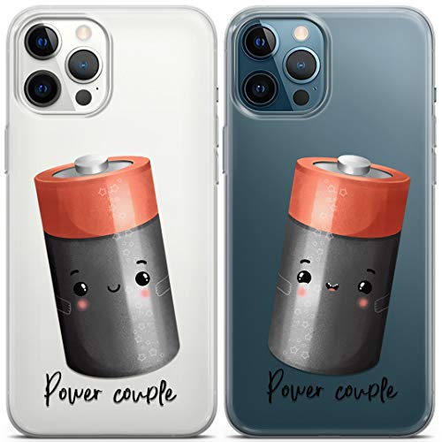 Loraw Matching Cases Compatible with iPhone 12 Pro Max Mini 11 Pro XS 10 XR SE X 8 7 Plus 6s Power Couple BFFs Best Friends Silicone Funny Clear Cute Couple Soft Cartoon Batteries See Through Cover