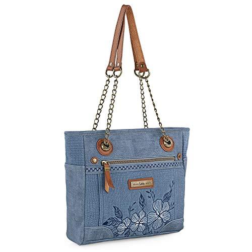 Lois - Bolso Grande Tipo Shopping de Mujer. 2 Asas largas. Lona Estampada y Cuero PU. para Compras o Viaje. diseño Ideal para 306181, Color Azul