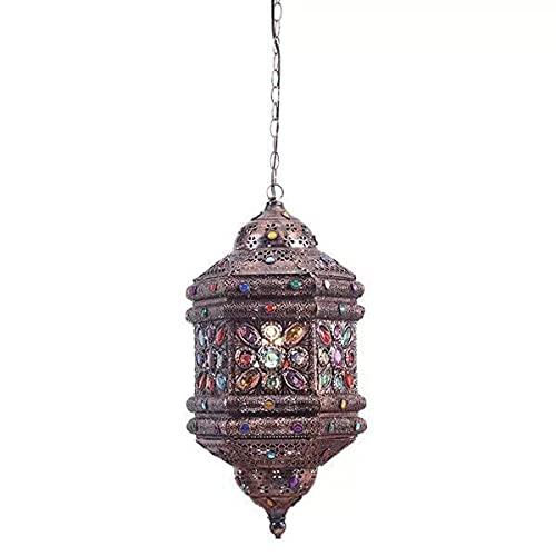 Lámpara colgante de techo de mosaico marroquí turco clásico retro lámpara de araña de hierro colgante linterna para la isla pasillo dormitorio E27